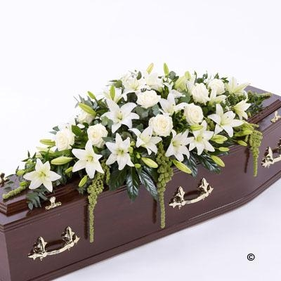 Lily and Rose Casket Spray   White